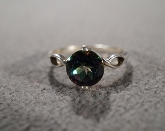 vintage sterling silver fashion solitaire style ring with large round faceted blue green topaz stones, size 9   M2