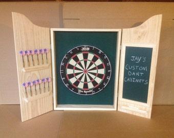 CUSTOM Dart Board Cabinet w/Chalkboard Scoreboard and DMI Staple-Free Sisal Bristle Dartboard - Customizeable - Gift Idea/Gameroom Addition