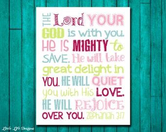 Zephaniah 3:17. Scripture. Bible Verse. Christian Art. Little Girls Wall Art. Girl Nursery Decor. God is Mighty to save. Girls Room Decor.