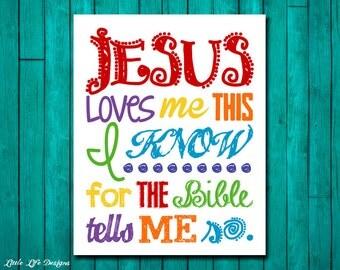 Jesus Loves Me Wall Art. Childrens Decor. Jesus Loves Me This I Know. Christian Decor. Christian Wall Art. Christian Nursery.Scripture Art.