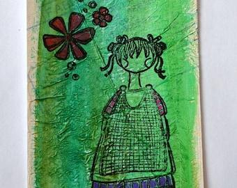"""Bookmark """"poupette"""" green"""
