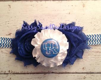 Kentucky Wildcats  inspired Shabby Flower Headband... Newborn, Baby, Girls Photo Prop Bow