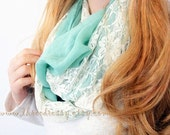 Clearance SALE Lace Infinity Scarf Mint Lace Scarf Soft Scarf Lace in Mint Linen Scarf Cute Scarf Fashion Accessory Holiday Gift