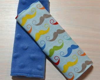 Car Seat Strap Covers - Blue w/ Mustaches