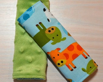 Car Seat Strap Covers - Blue w/ Cows