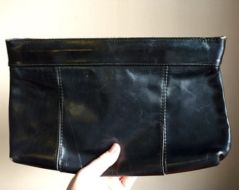 Vintage Black Leather Clutch with Strap