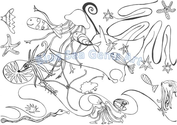 ocean scene coloring page one pdf file for instant download dreamworld of ocean life relaxing meditation art colorful ocean printable