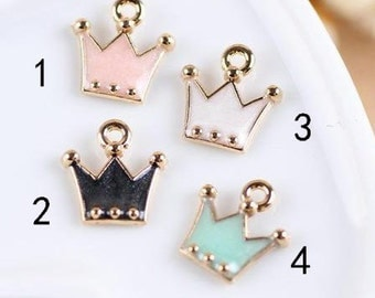 20 pcs of antique gold colorful crown  charm pendants12x12mm