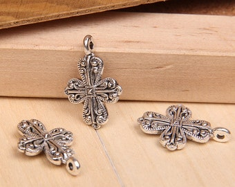 25 pcs of antique silver carved cross  Charm Pendants 27x19mm