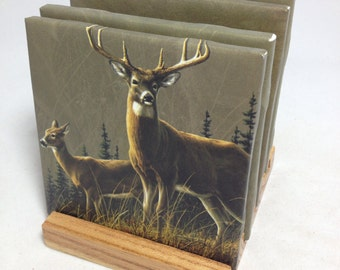 "HANDMADE ""Deer"" Drink Coasters 