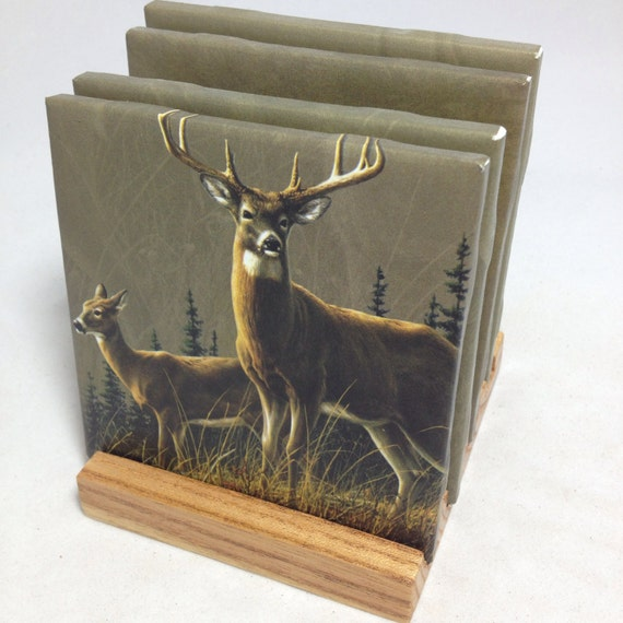 Handmade deer drink coasters set of four the for Handmade drink coasters