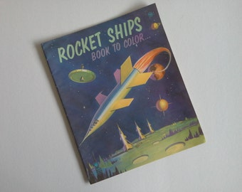 Vintage Rocket Ship Childrens Coloring Book.