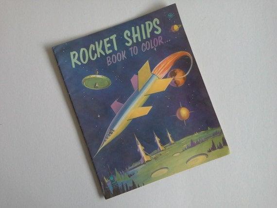 Vintage Rocket Ship Childrens Coloring Book