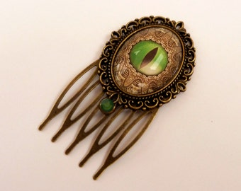 Small hair comb in green bronze with Dragon's Eye, Fantasy hair comb, Steampunk Hair Accessories, China hair comb, hair jewelry original