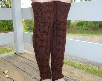 """Hand-knitted Thigh High Leg Warmers in """"Chocolate"""" Color. Ready to ship."""