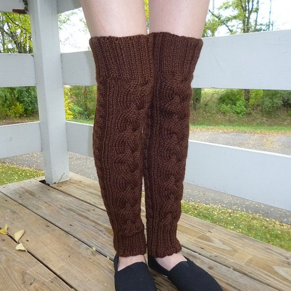 Knitting Pattern For Thigh High Leg Warmers : Hand-knitted Thigh High Leg Warmers in Chocolate