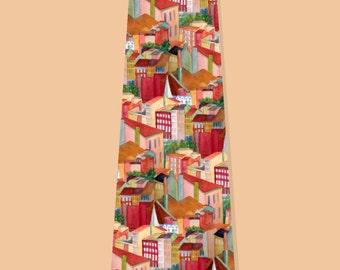 Silk Tie Handmade tie Handpainted Tie Architectural Tie Landscape Tie Necktie Lyon Tie