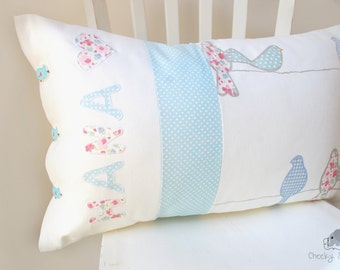 Personalized baby pillow soft pink and aqua blue teal with name appliqué, custom name pillow, nursery pillow birds