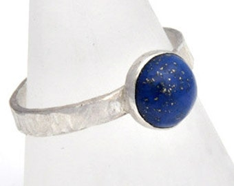 Handmade Ring in Sterling Silver with Lapis Lazuli Stone