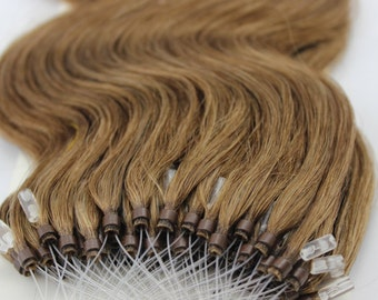18inches 100grs,100s,Micro Loop(Rings) Human Hair Extensions 10 Light Brown