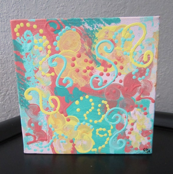 Teal Coral Pink Yellow Original Abstract Painting By