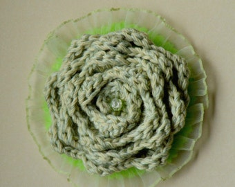 Crochet brooch fabric brooch shabby chic rustic flower boho boho-chic lace
