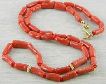 Gold Filled Italian Red Coral Necklace Vintage  AN-N42