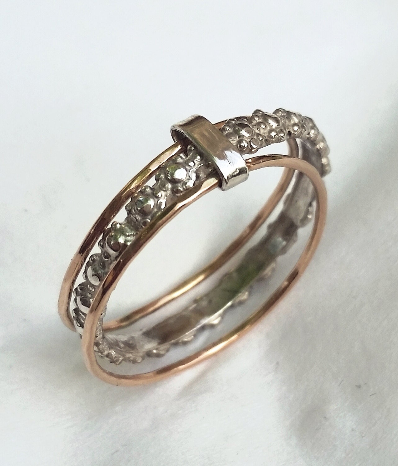 silver and gold stacking wedding ring for silver by