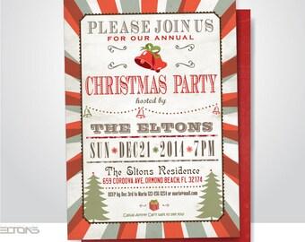 Christmas Pary Invitation, Custom, DIY, Christmas Tree, Annual Christmas party.