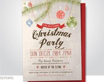 Vintage Christmas Xmas Party Invitation, Retro Chalkboard Kraft Paper Background, Digital Printable Double Sided File