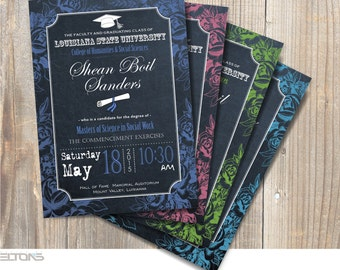 Graduation Invitation, Custom Chevron & Chalkboard Graduation Invitation, Double-Sided College Graduation Announcement, DIY