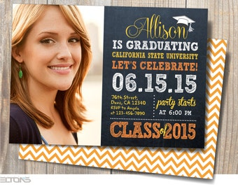Graduation Invitation, Graduation Announcement, Chalkboard Double-Sided Graduation Invitation, Custom College Color and Sign