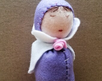 MINI MERMAID DOLL / waldorf violet miniature mermaid doll