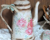 Vintage Coffee Pot-Rustic Coffee Pot- Decoupage Coffee Pot-Cottage Chic Decor