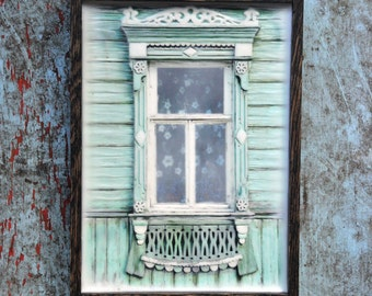 Russian decorative dacha window. Original Encaustic Photography. Rostov, Russia. Fine art wall decor. Light green. Framed 5x7