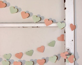 Paper Heart Garland. Peach and Mint. Wedding - Engagement  - Home Decor - Table Decoration -  Party Decor.