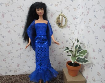 Handmade Barbie clothes - Blue sequined trumpet gown ensemble