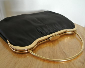 1960s Mod Clutch Black Satin with Gold Tone minimalist Handle Retro