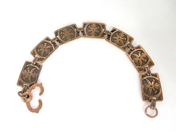 vintage copper link bracelet etched design by