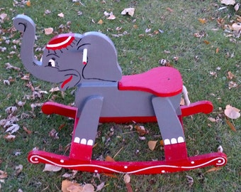... Handmade Painted Wood Eleph ant Riding Rocker Toy - Red Grey White