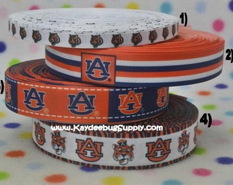 3 yards Auburn University Tigers - 3/8 in, 7/8 in, 1 in Printed Grosgrain Ribbon - Choose Design