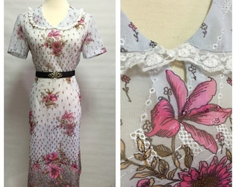 Vintage 70s/ Airy Fairy Garden Dress/ Sheer Embroidery/ m to l