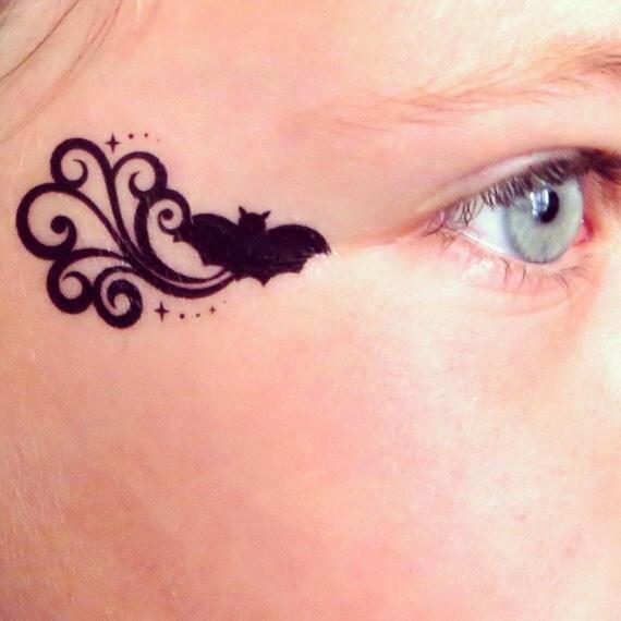 Items similar to bat batman batgirl temporary face tattoo for Halloween temporary tattoos