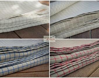 Linen Tea Towels / Set of 2 Pure Natural Linen Kitchen Tea Towels Small Checked