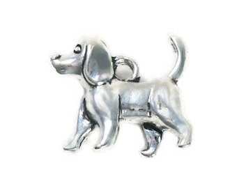 8 Beagle Silver Dog Charm 3D 14x16mm by TIJC SP0955