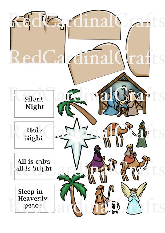 Card in a box embellishments nativity by redcardinalcrafts