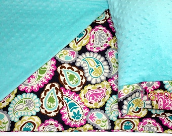 Nap Mat Cover - Paisley - Hot Pink - Teal - Choose Your Colors - Kindermat - Back To School - Pillowcase - Blanket - Minky
