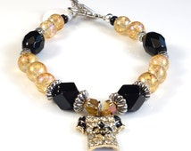 Black and Gold Women's stackable bracelet, stacking bracelet, statement bracelet, beaded bracelet