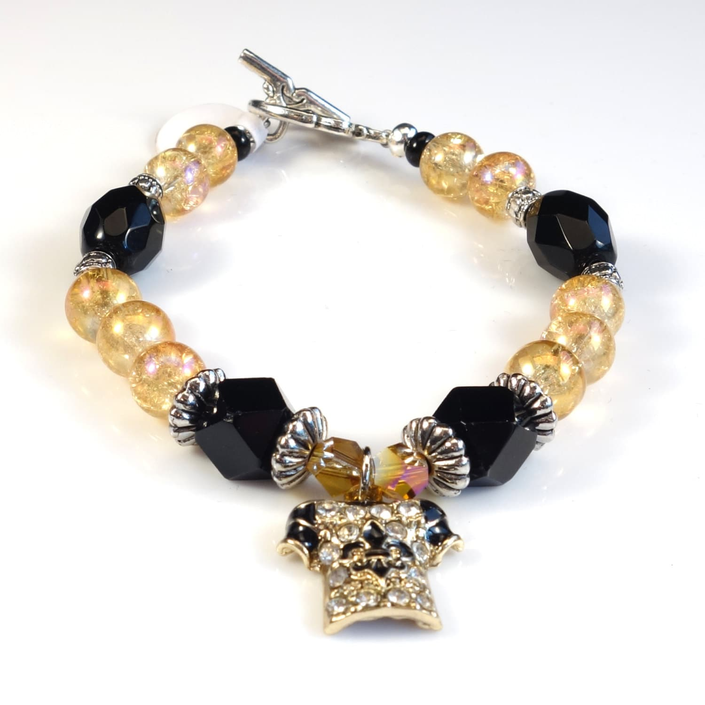 Black Bracelet Womens: Black And Gold Women's Stackable Bracelet Stacking