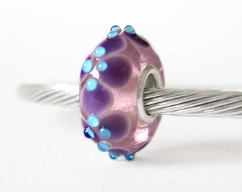 Purple and Blue Dots Murano Lampwork Sterling Silver European Style Large Hole Bead